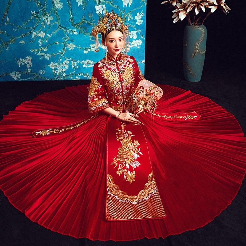 Ancien вышивка цветок Qipao женский элегантное платье со складками полная длина красный Cheongsam Китайский Винтаж Тан Customes Размеры s m l xl