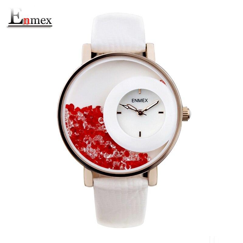Prix pour 2017 festival memorial day cadeau enmex femmes creative swan lac montre-bracelet pierre sable bouteille mode quartz diamant montres