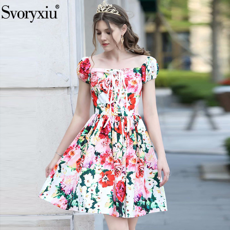 Svoryxiu Elegant Charming Flower Print Beach Vacation Dress Women s Fashion Puff Sleeve Sexy Square Collar