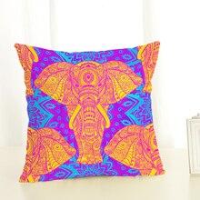 Купить с кэшбэком Animal Elephant Color Image Printed Throw Pillow case Linen Cotton Cushion Cover Creative decoration for Sofa Car covers45x45cm