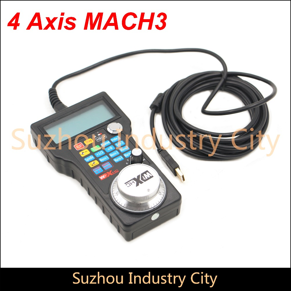 Free shipping Mach3 USB Remote Handle 4Axis CNC Hand wheel pulse generator MPG 5m wire CNC