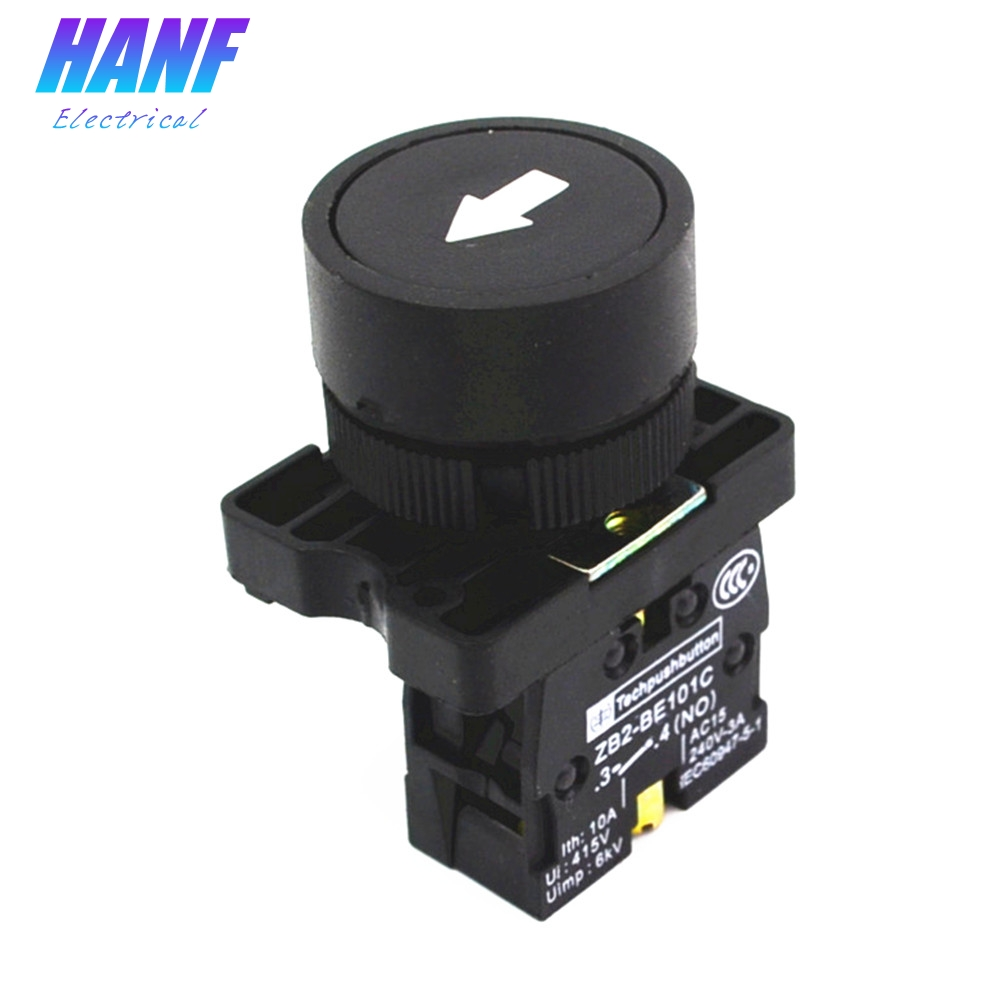22mm NO N/O ZB2-EA3351 Black Sign Momentary Push Button Switch 600V 10A Flat head Pushbuttons With Marking