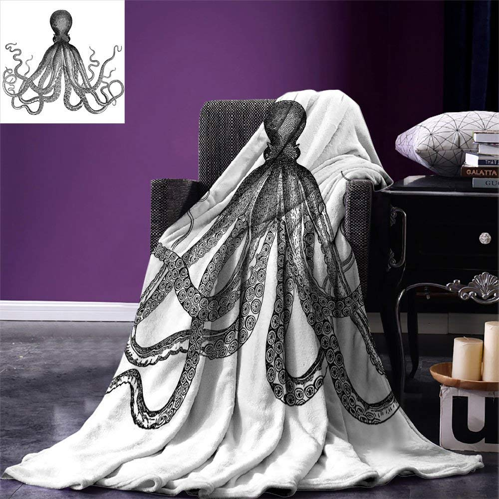 Nautical Decor Throw Blanket Vintage Engraved Ilration Of An Octopus Sea Creature Monochrome Art Warm In Blankets From Home Garden On