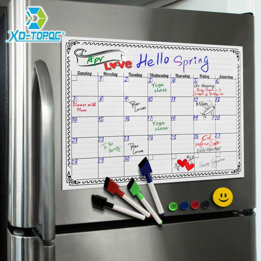 A3 Whiteboard Calendar Magnet Fridge Bulletin Monthly Daily Drawing Kitchen Flexible