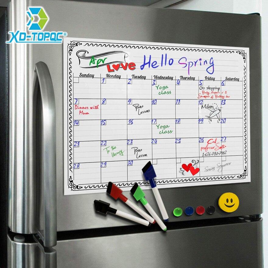 Pizarra blanca A3 planificador mensual tablero de mensajes magnético cocina notas de tablones de anuncios flexibles diarios imán de nevera Calendario de dibujo