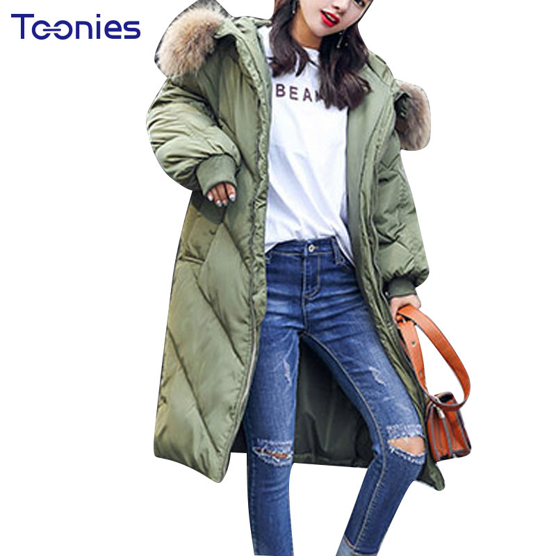 2017 Winter New Cotton Parkas Straight Solid Fashion Long Style High Street Oversized Fur Hooded Jackets Thickening Overcoat