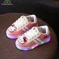 Baby girls shoes niños iluminadas resplandeciente hello kitty niños zapatos primavera zapatillas de deporte de moda con led luz niñas iluminación pisos c231