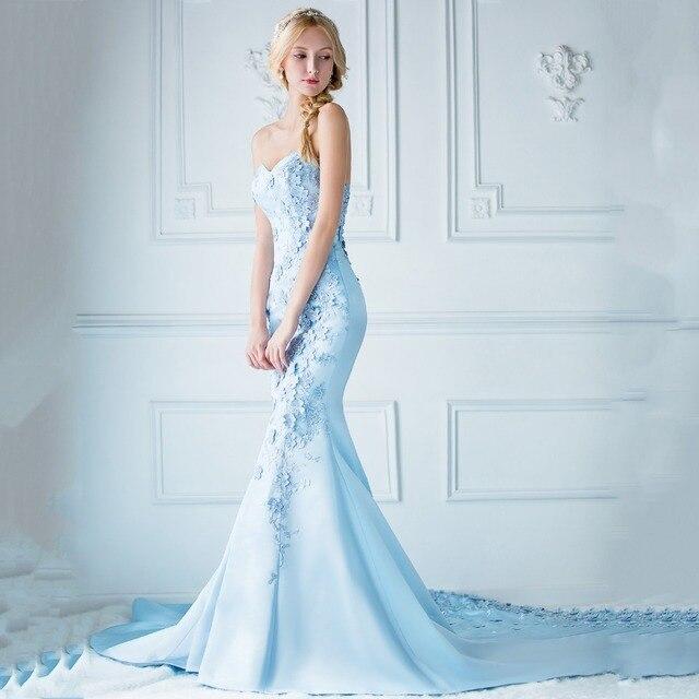 Mermaid Evening Dress abiye Long Light Blue Floral Strapless Evening ...