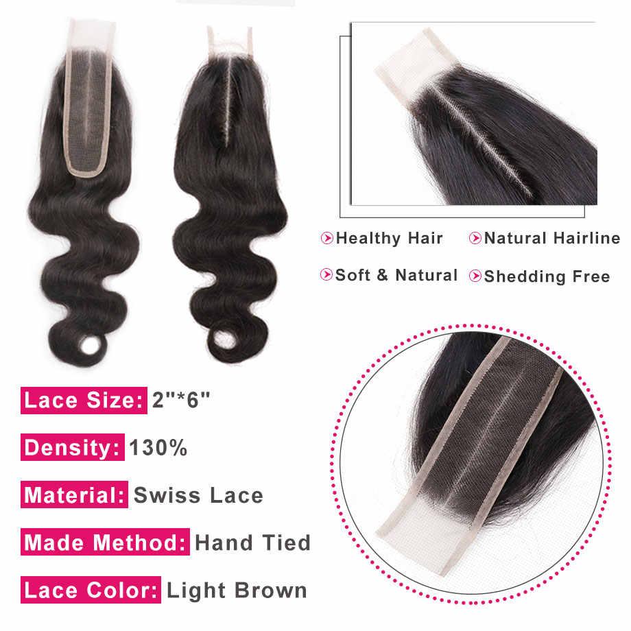 Шикарные волосы 2*6 бразильские синтетические волосы волнистые с волосами младенца средняя часть 100% Remy человеческие волосы закрытие швейцарское кружево натуральный цвет