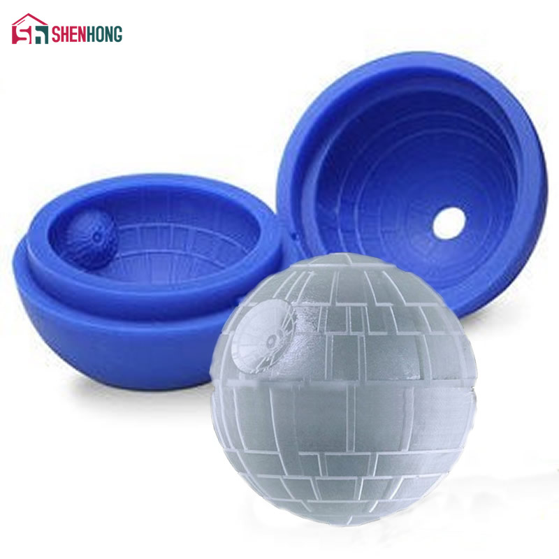 Hot Creative Silicone Blue Wars Death Star Round Ball Cake Ice Cube Mold Tray Desert Sphere Mould DIY Cocktail Forma De Gelo