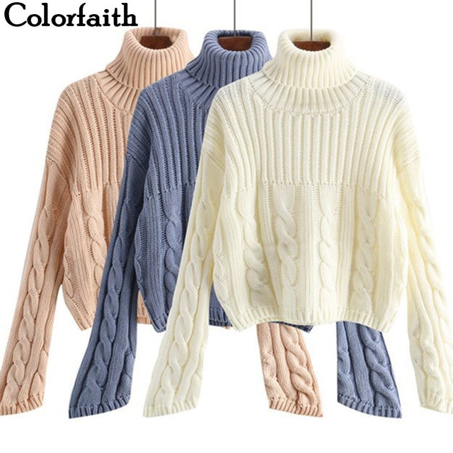 Colorfaith Women Pullovers Sweater New 2019 Knitting Autumn Winter Thick  Warm Turtleneck Elegant Casual Ladies Female Tops SW799 8c51576485aa