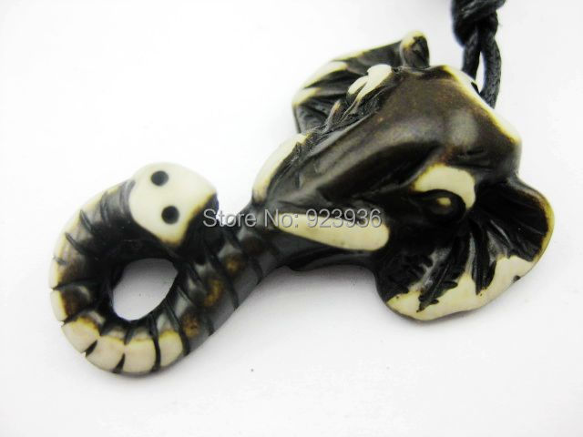 FREE SHIPPING 12 PCS Ethnic Tribal Yak Bone Carving Cool MINI Elephant Head Totem Pendant Necklace