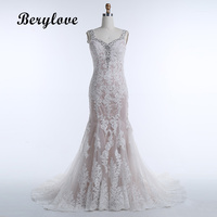 BeryLove Champagne Mermaid Wedding Dresses 2018 Sweetheart Backless Sequined Lace Wedding Gowns China Bridal Dresses Wedding