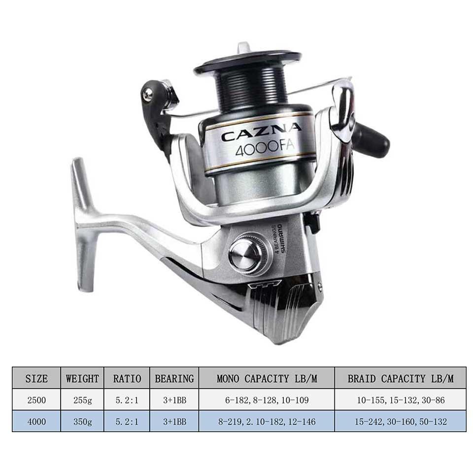 SHIMANO CAZNA 2500FA/4000FA Spinning Fishing Reel 3+1BB with AR-C Spool Rigid Body Spinning Fishing Reel