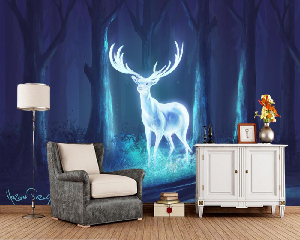 Papel de pared cerf animaux magiques arbres cornes nuit fantaisie papier peint, salon canapé TV mur chambre papiers muraux décor à la maison