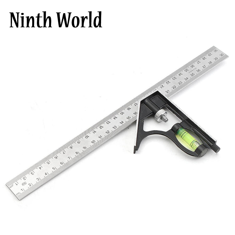 Precisa de acero inoxidable herramientas de medición de aluminio combinación cuadrado Diy taller Hardware ángulo nivel 12