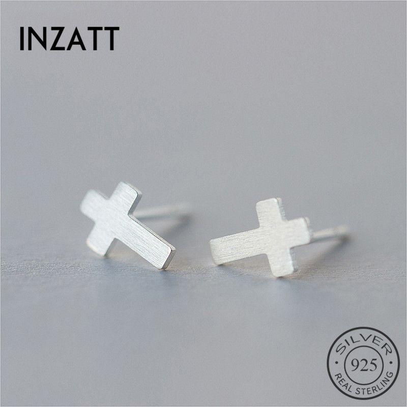 INZATT Trendy Geometric Frosted Cross Stud Earrings For Lovers Birthday Party 925 Sterling silver Men Earrings Fashion Jewelry