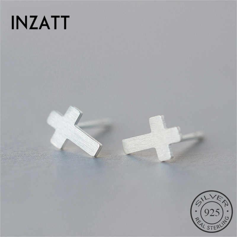 Pendientes de Cruz esmerilada geométrica de moda de INZATT para los amantes de la fiesta de cumpleaños 925 pendientes de plata de ley para hombres joyería de moda