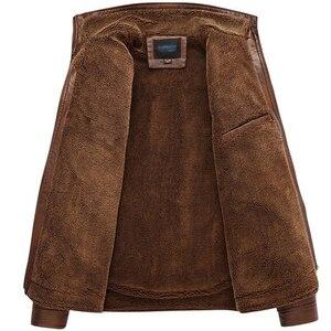 Image 4 - Mountainskin jaqueta couro sintético masculina, casacos de lã alta qualidade pu para uso externo, de negócios no inverno 5xl eda113
