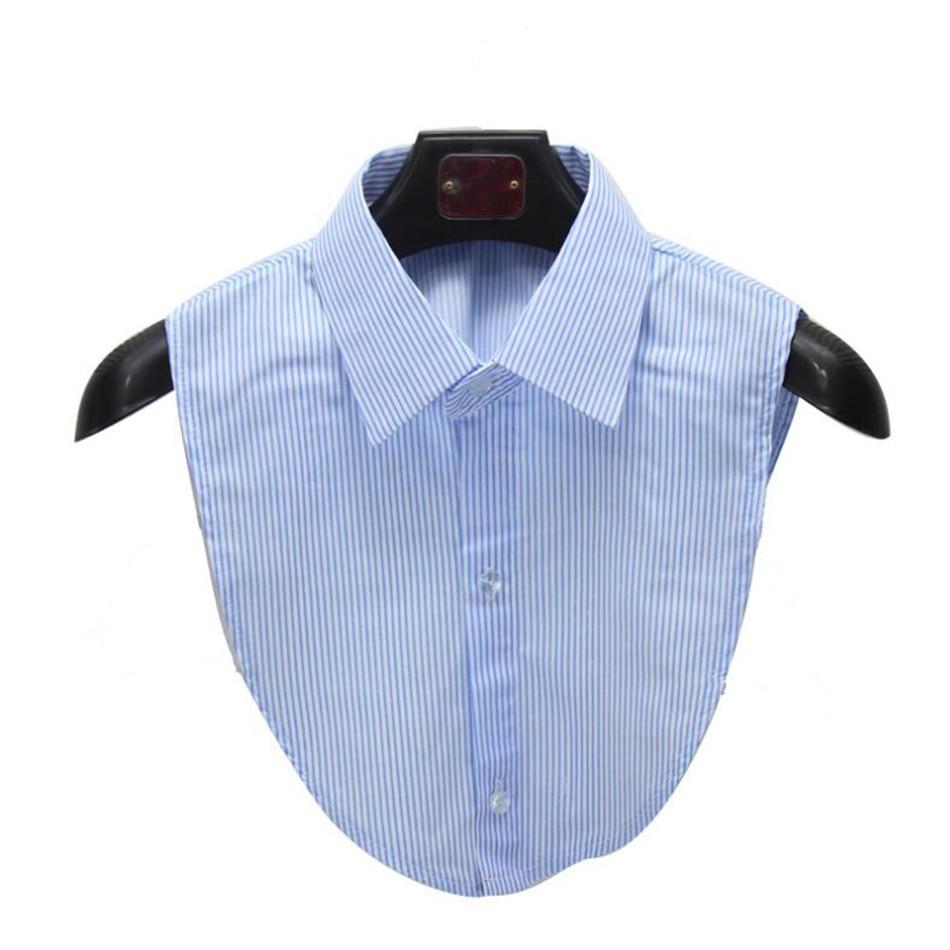 Showersmile Shirt Fake Collar Blue White Striped Detachable Collar
