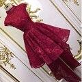 Red Colarinho Alto Frisada da Luva do Tampão do vintage Frente Curto Longo Voltar Lace Prom Vestidos
