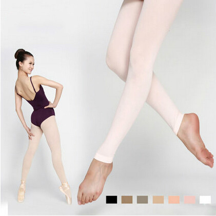 Women Footless Dance Tights with Waist and Crotch Lady Ballet Fitness Dancing Tights Nine Points Pantyhose Leggings 7Colors