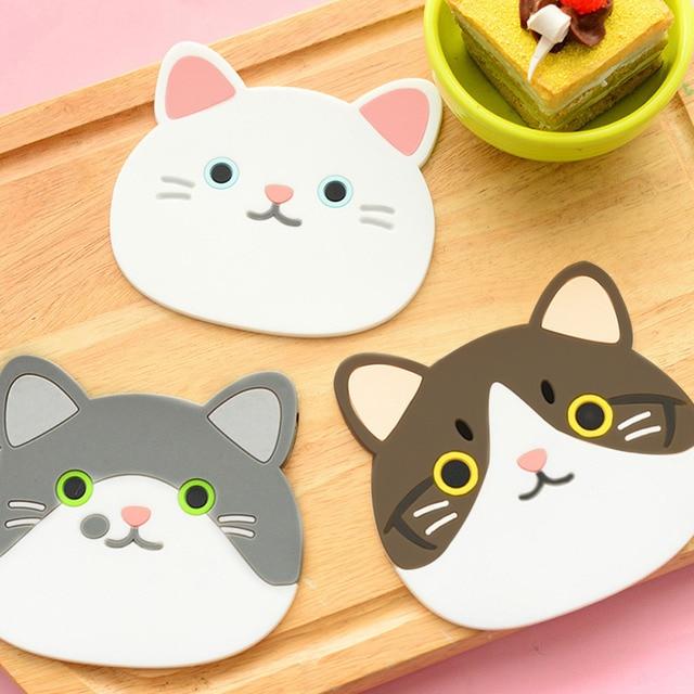 6 style Silikonowe Stół Podkładka Coaster Cute Cat Wzór Silikonowe Izolacji Podkładka Coaster Cup Bowl Mat Piękny Dom