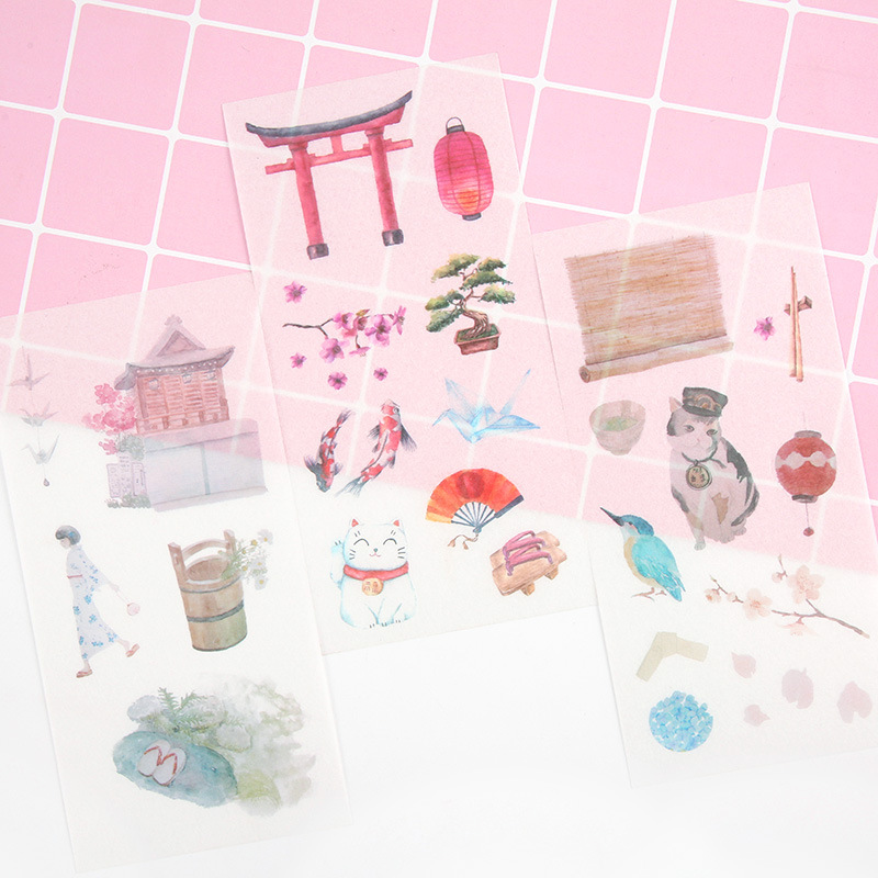 6Sheets/Pack Creative Japanese Cherry Blossom Decoration Scrapbooking Stickers Transparent PVC Stationery Diary Stickers