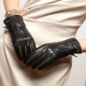 Image 4 - الشتاء أعلى جودة قفازات نسائية المعصم قصيرة جلد طبيعي القفازات الحرارية الإناث الخرفان للقيادة شحن مجاني EL031NR 5