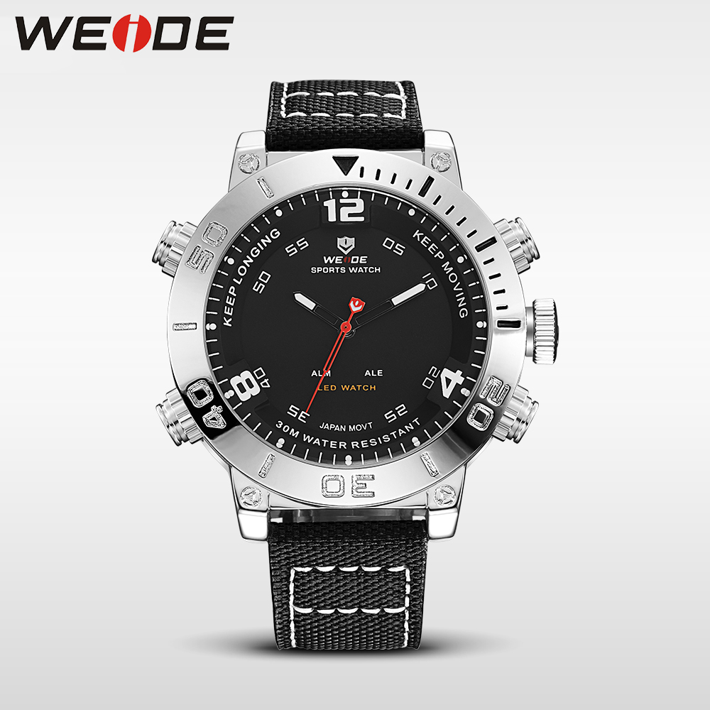 WEIDE watch luxury brand quartz sport digital nylong dress fashion casual water resistant black alarm clock relogio