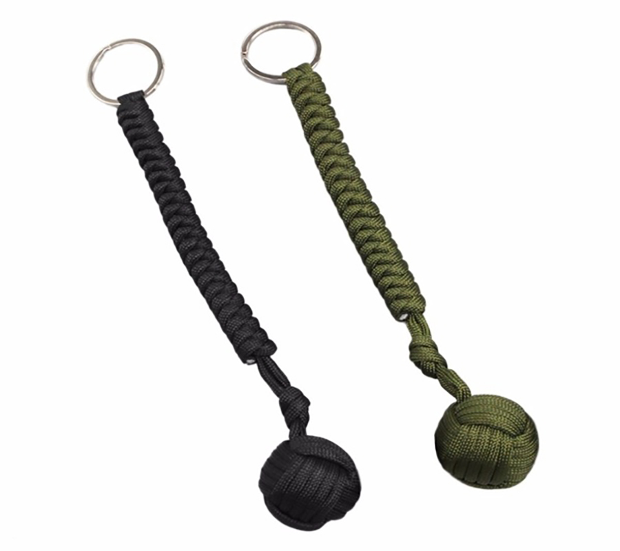 Outdoor Security Protection Black Monkey Fist Steel Ball  Designed For Women And Kids Self Defense Lanyard Survival Key Chain