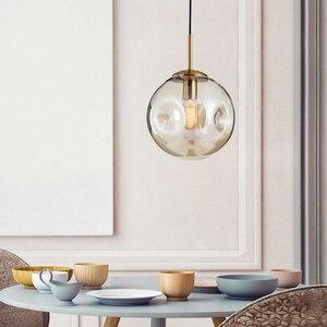 Image 4 - Modern loft glass ball pendant light LED E27 Nordic hanging lamp with 2 colors for living room restaurant bedroom lobby kitchen