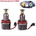 2PCS 12V 40W H8 LED Angel Eyes light Bulb  6000K CREE LED Chips Angel Eyes headlights car Lamps for BMW E90 E92 E93 X5