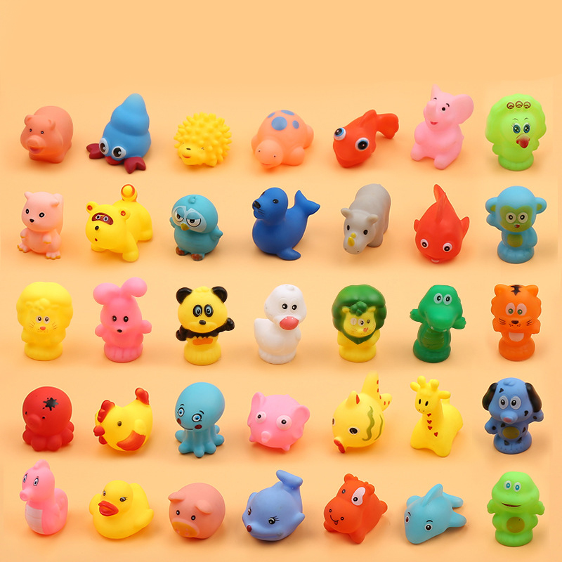 5pcs Bath Toys For Children Rubber Yellow Duck Fish Sea Lion Crab Tortoise Toddler Kids Water Toys Shower Beach Floating Pool in Bath Toy from Toys Hobbies