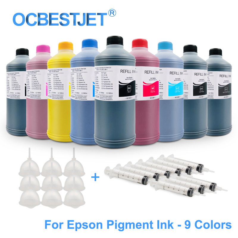 9x1000 ml universal pigmento tinta reenchimento kit para epson surecolor p600 p800 p6000 p7000 stylus pro