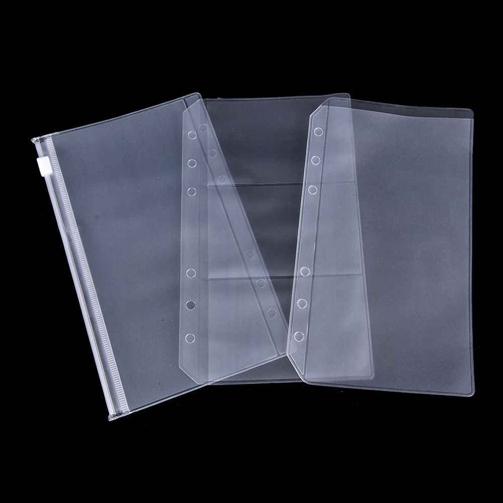 A5/A6 Transparent Zip Lock Envelope Binder Pocket Refill Organiser Stationery
