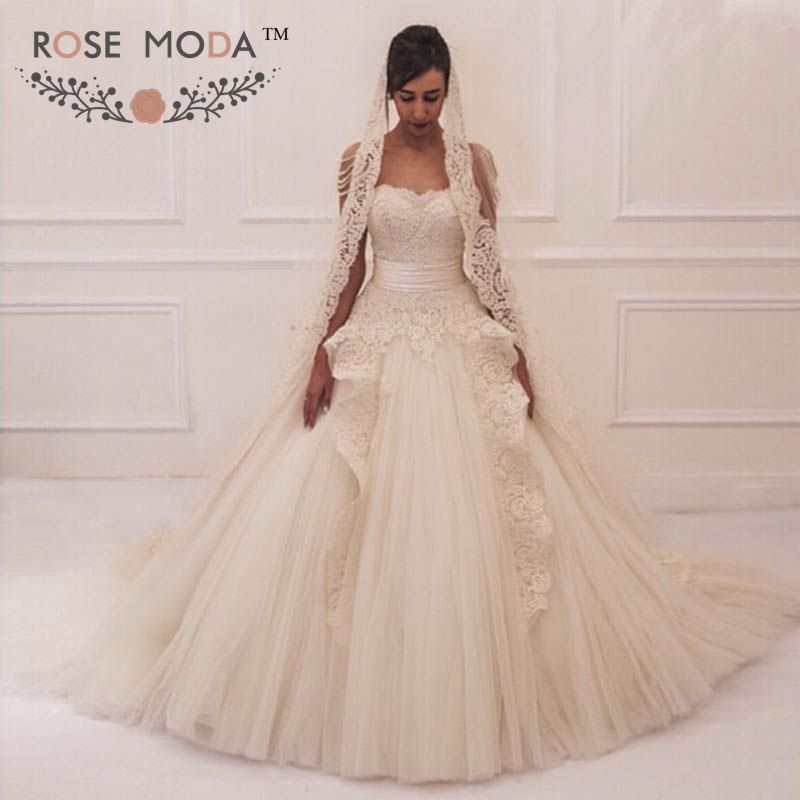 Luxury Pearl Draping Back Lace Ball Gown With Detachable