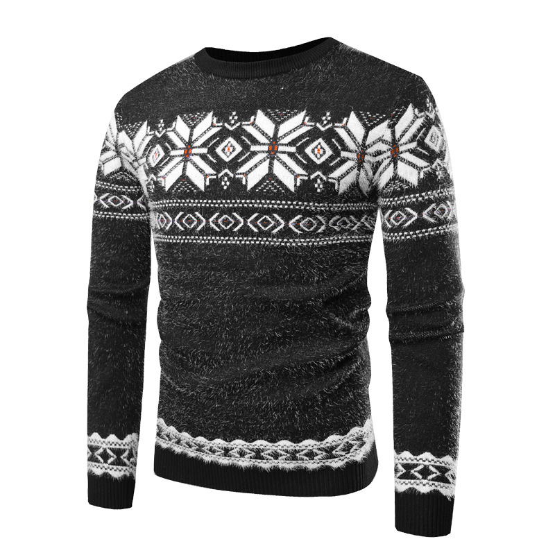HEFLASHOR Warm Patchwork Floral Print Sweater Men O-Neck Long Sleeve Hombre Slim Knitted Pullover Male Fleece Casual Sweater