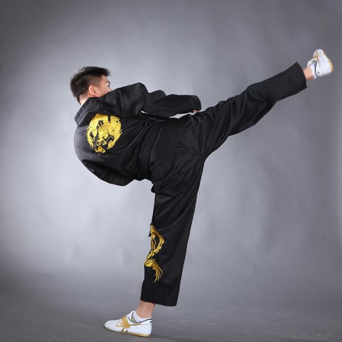 2019 Bestickter Drache Schwarz Polyester Baumwolle Taekwondo Kleidung - Sportbekleidung und Accessoires - Foto 2