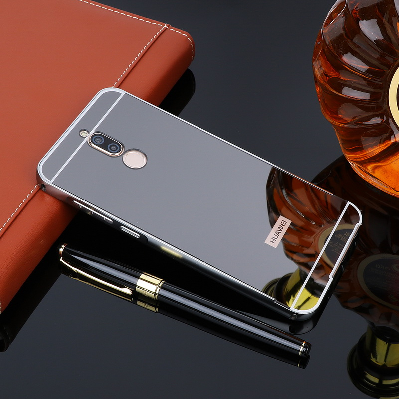 For Huawei Mate 10 Lite Case Gold Metal Aluminum Bumper Mirror Cases For Huawei Nova 2i Honor 9i Luxury Acrylic Cover Fundas