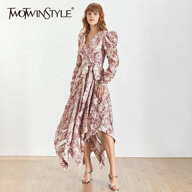 TWOTWINSTYLE Summer Vintage Print Women Dress Stand Bandage Bow Puff Sleeve High Waist Asymmetrical Hem Dresses