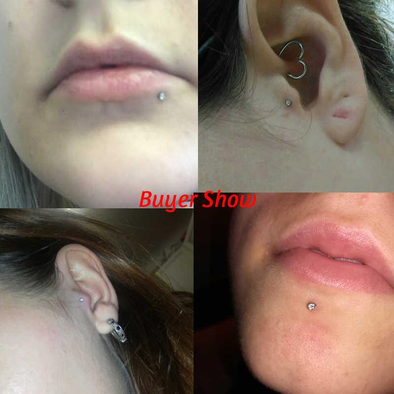 1.2x1.5-4 мм AAA Циркон Серебро Labret губы бар шпилька пирсинг 16 Калибр из нержавеющей стали хряща уха трагус пирсинг серьги