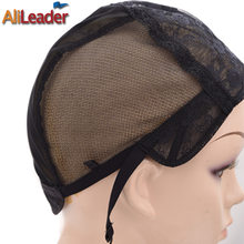Best Supplier Alileader Lace Wigs Making Tools Weft Wig Cap 4 Size Lace Caps Rose Net Wig Caps For Making Wigs Adjustable Straps(China)
