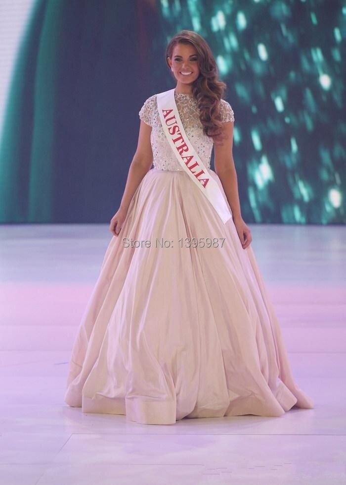 2014 Miss mundo Australia alta ilusión pura escote rebordear ...