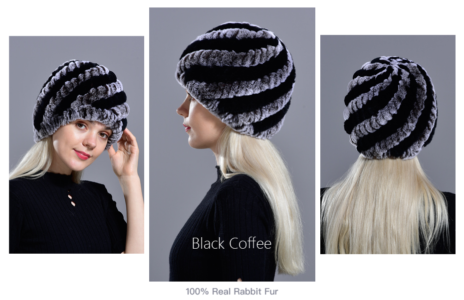Raglaido Rabbit winter fur hat for Women Russian Real Fur Knitted Cap headgea Winter Warm Beanie Hats 2019 fashion brand LQ11279 22