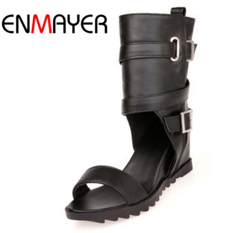 ENMAYER New Round Toe Open Toe Wedges Women Boots Casual Shoes Women Motorcycle Boots Summer Boots Platform Boots Big Size 34-43 phyanic 2017 gladiator sandals gold silver shoes woman summer platform wedges glitters creepers casual women shoes phy3323