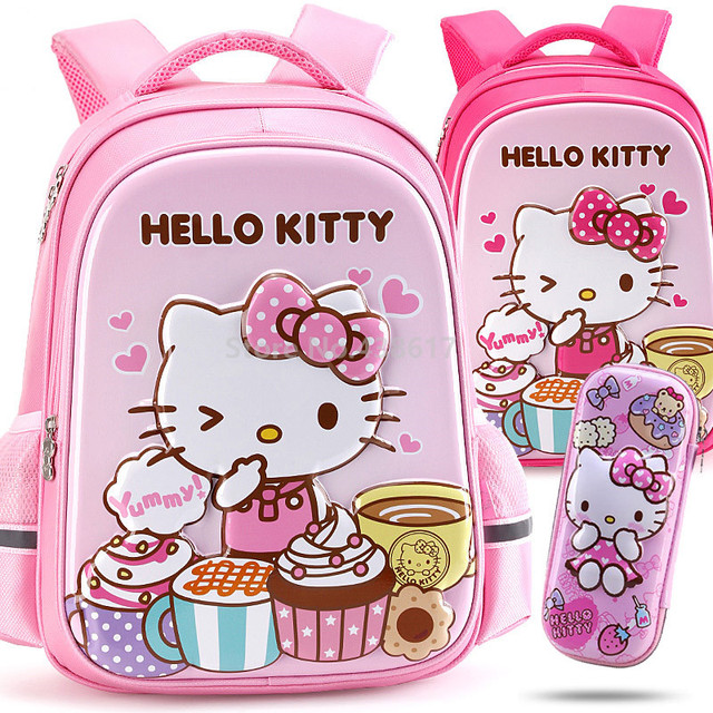 5997f00f5 Cute 3D Pink Hello Kitty Girls Backpack School Bag With Pencil Case Set For  Kids Children Elementary Primary School Book Bags