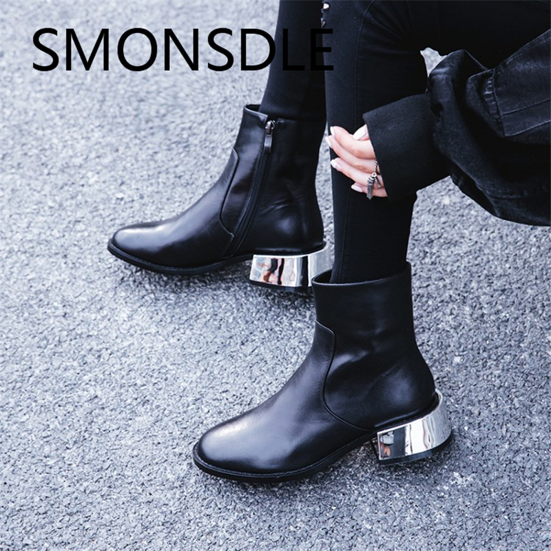 SMONSDLE New Autumn Winter Black Genuine Leather Women Ankle Boots Round Toe Side Zip Metal Thick Heel Short Boots Shoes Woman smonsdle new genuine leather white women ankle boots round toe buckle back zip chunky heel women autumn winter boots shoes woman