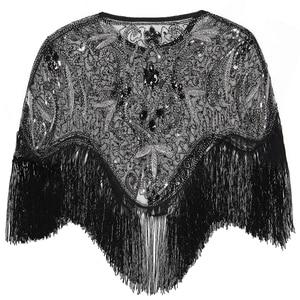 Image 3 - 여성 1920 년대 플래퍼 자수 프린지 숄 커버 개츠비 파티 페르시 스팽글 케이프 빈티지 메쉬 scraf 랩 드레스