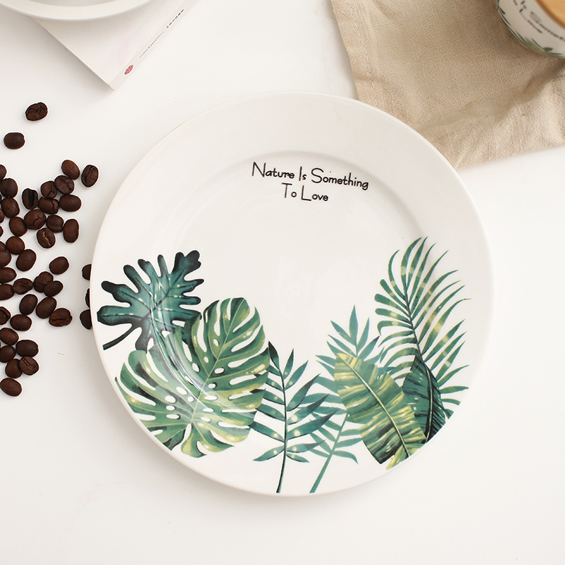 1 Pc 8 Inch Monstera Leaf Pattern Ceramic Plate For Dinner
